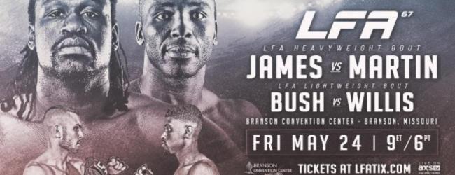 Daniel James vs. Patrick Martin is het Main Event van LFA 67 in Branson