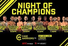 Uitslagen : Cage Warriors 106 : Night of Champions