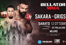 Alessio Sakara treft Canaan Grigsby tijdens het Main Event van Bellator Milaan