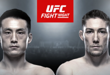 Welterweights Song Kenan en Derrick Krantz treffen elkaar tijdens UFC Shenzhen