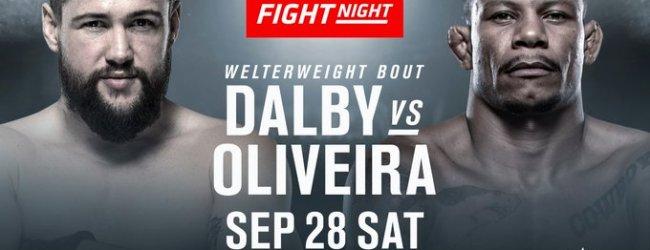Nicolas Dalby maakt comeback in de UFC tegen Alex Oliveira tijdens UFC Kopenhagen
