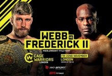 Middleweight kampioen James Webb treft Nathias Frederick in een rematch tijdens Cage Warriors Londen