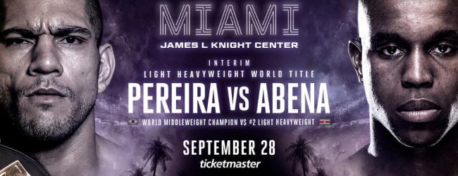 Alex Pereira vs. Donegi Abena voor interim titel in Miami