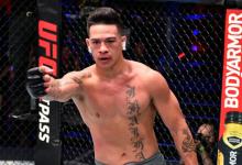 """Callan Potter treft """"Coconut Bombz"""" Maki Pitolo tijdens UFC 243 in Melbourne"""