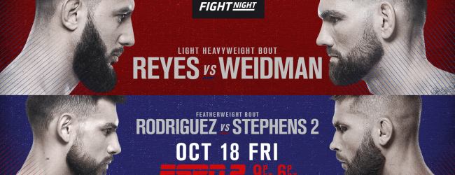 Uitslagen : UFC on ESPN 6 : Reyes vs. Weidman
