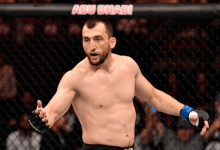 Welterweightclash tussen Muslim Salikhov en Laureano Staropoli tijdens UFC Singapore