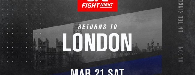 UFC keert op 21 maart terug naar Londen