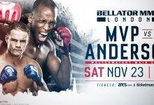 Derek Anderson meldt zich af voor het Main event van Bellator Londen tegen MVP