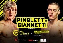 Joe Giannetti vervangt Donovan Desmae tijdens Cage Warriors 111 tegen Paddy Pimblett