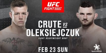 Jimmy Crute treft Michal Oleksiejczuk in Light-Heavyweightclash tijdens UFC Auckland