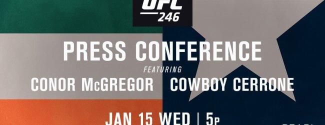 Fans zijn welkom bij persconferentie UFC 246: McGregor vs. Cowboy