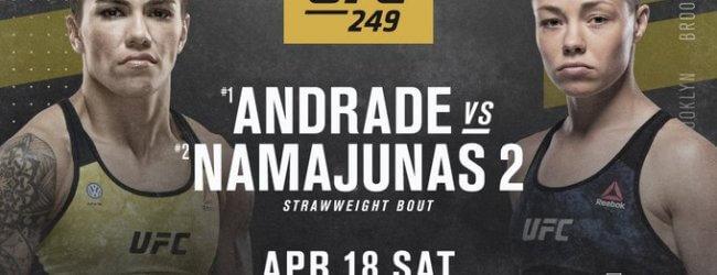Jessica Andrade en Rose Namajunas op herhaling tijdens UFC 249 in Brooklyn