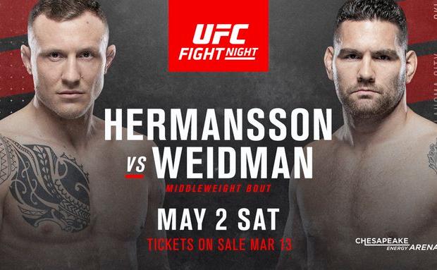 Hermansson vs Weidman headlined UFC Oklahoma City