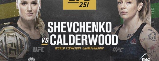 Flyweight kampioene Valentina Shevchenko treft Joanne Calderwood tijdens UFC 251 in Perth