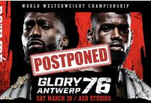 GLORY stelt GLORY 76 Antwerpen en GLORY 77 Miami uit door Corona virus