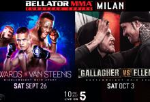Edwards vs. van Steenis & Gallagher vs. Ellenor Main Events Bellator European Series in Milaan