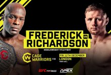 Uitslagen : Cage Warriors 118 : Frederick vs. Richardson